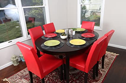 Red Leather 7pc Oval Solid Top Dining Table Contemporary Cappuccino Finish  Solid Wood Dining Table Chairs