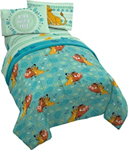 Jay Franco Disney Lion King Fun in The Sun 4 Piece Twin Bed Set - Includes Reversible Comforter & Sheet Set - Bedding Features Simba, Pumbaa, Simon - Super Soft Microfiber - (Official Disney Product)