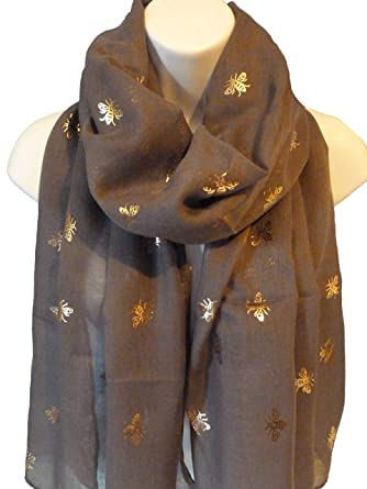 1b6d6235d1f76 Ladies Women Rose Gold Worker Bee Print Metallic Foil CHARCOAL GREY Scarf  Shawl. Roll over image to zoom in. She Loves Gifts