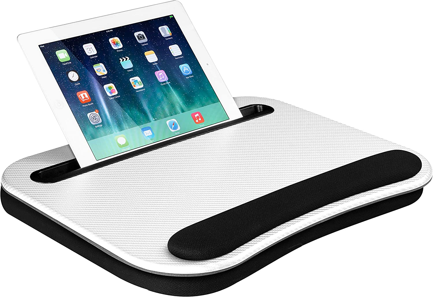 LapGear Smart-e Lap Desk - White Carbon - Fits up to 15.6 Inch laptops and Most Tablet Devices - Style No. 91334
