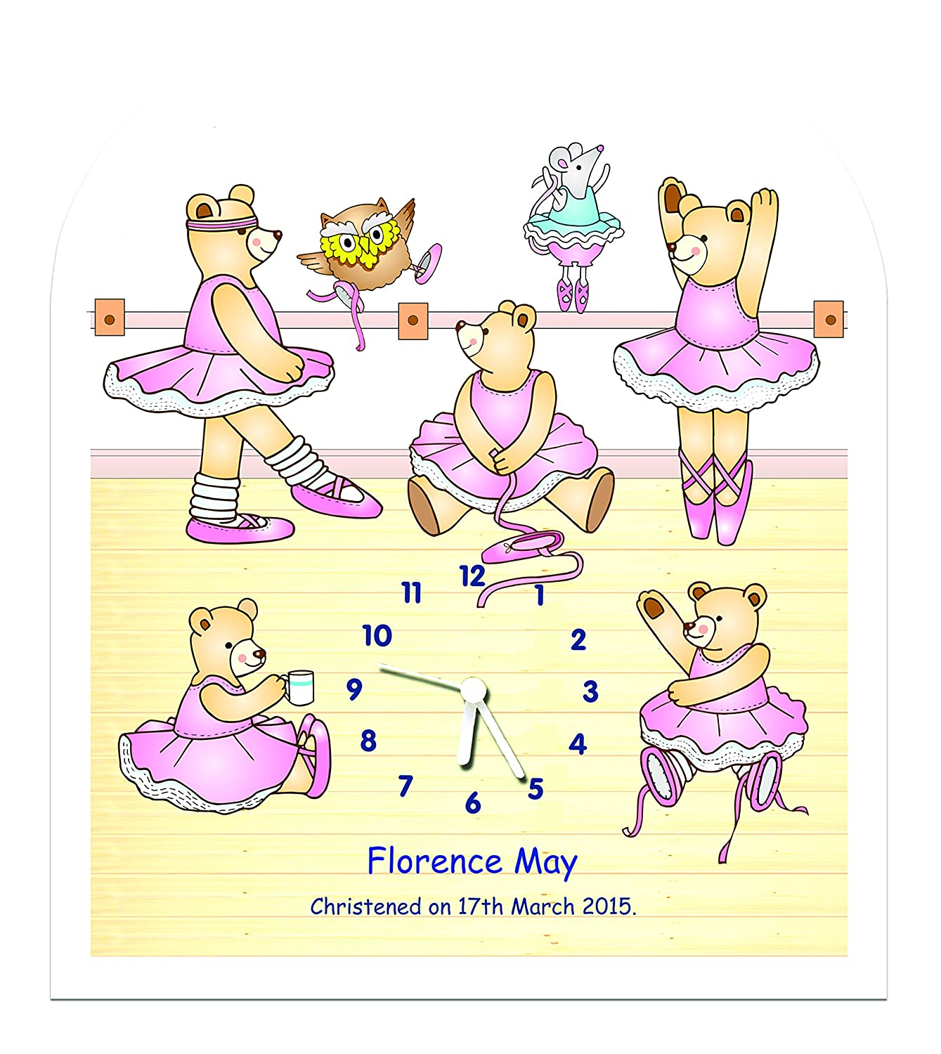 Personalised baby or children's nursery / bedroom wall clock - Ballet class The Marmalade cat