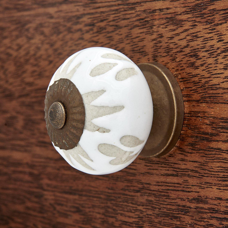White Etched Ceramic Kitchen Cabinet Dresser Drawer Knob Pull Pack of 12 Shabby Restore i487a