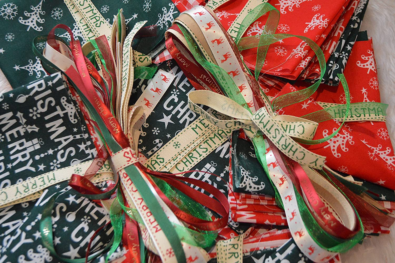 Christmas Fabric Bag 100G Bundle For Craft Remnants + Christmas Ribbons 15 x 1 Meter Lengths Xmas Craft Set The Cut & Sew Company