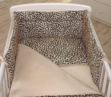 Imagen de5 Piezas Conjunto Set Juego de Ropa para cuna Protector, Edredón 100% Algodón (para cuna de 140 x 70 cm, Pantera Beige) Jaguar Animales Patrón de Leopardo Marrón