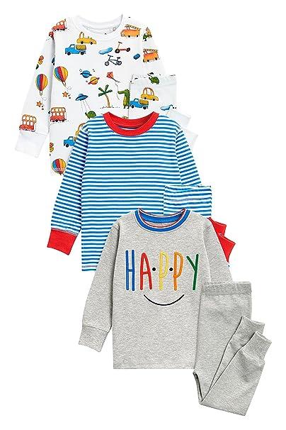 next Niños Pack De Tres Pijamas Cómodos con Eslogan/Rayas (9 Meses - 8 Años) 7-8 años: Amazon.es: Ropa y accesorios