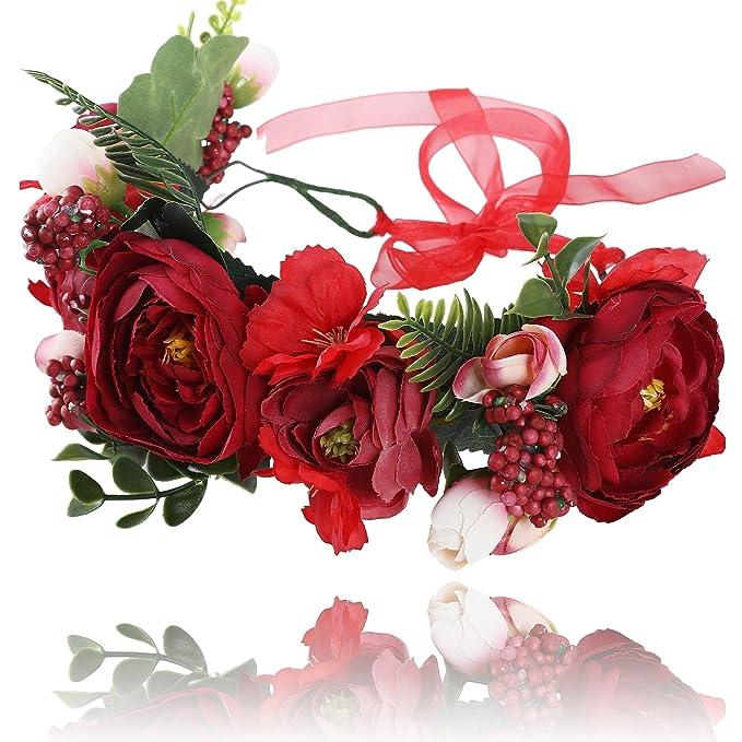 AWAYTR Blumen Stirnband Hochzeit Haarkranz Krone - Frauen Mädchen Blumenkranz Haare für Hochzeit Party