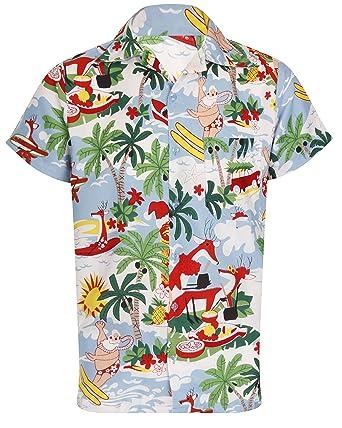 Christmas Hawaiian Shirt.Oe Menswear Christmas Hawaiian Shirt Mens Santa Loud Hawaii