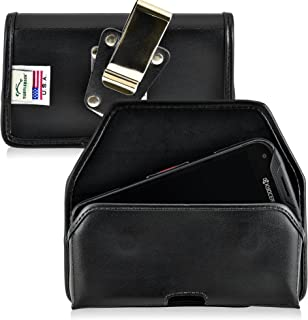 product image for Turtleback Belt Case Made for Kyocera DuraForce PRO E6810 E6820 E6830 Black Holster Leather Pouch with Heavy Duty Rotating Ratcheting Belt Clip Horizontal Made in USA