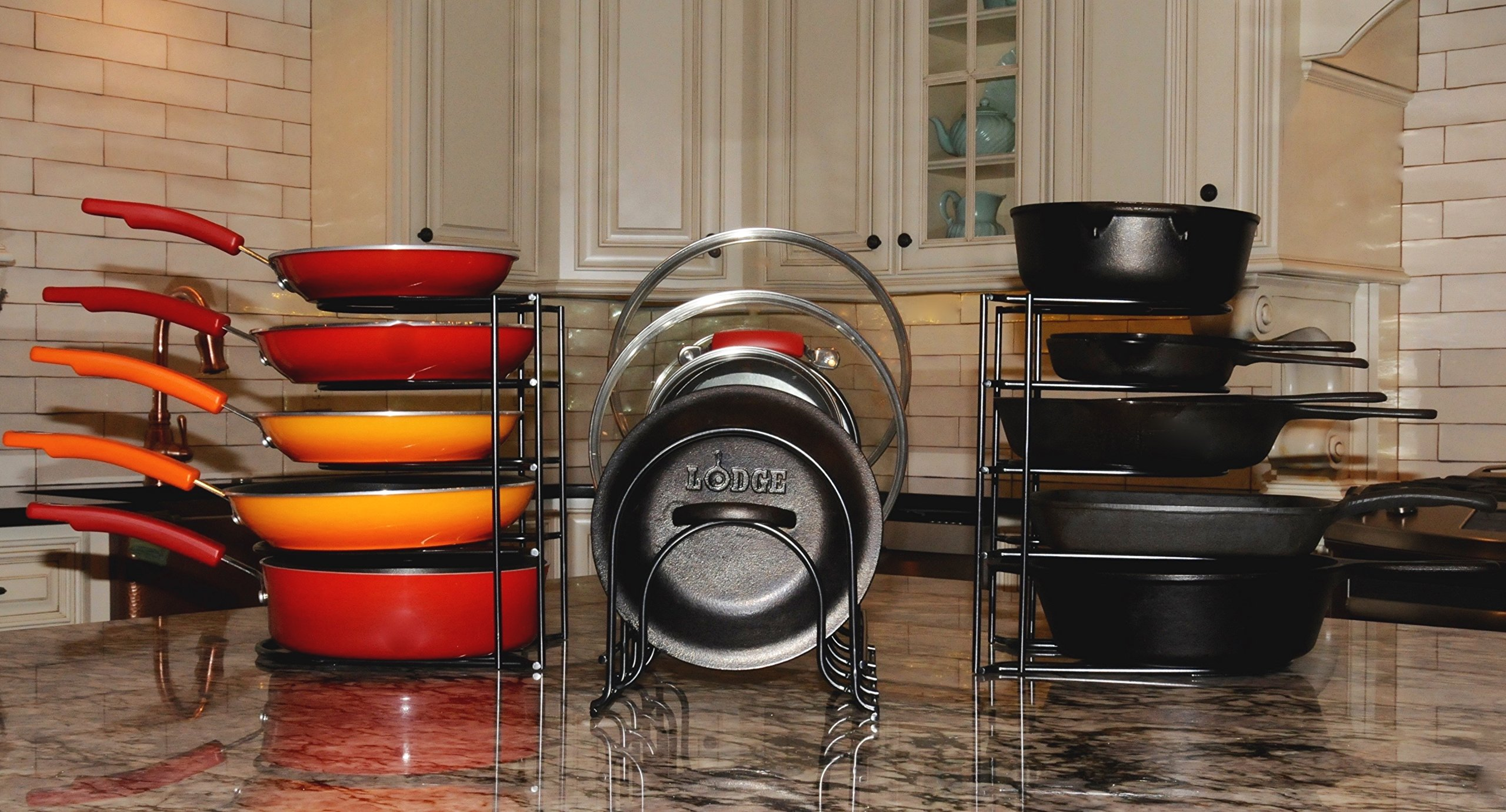 Extreme Matters Heavy Duty Pan Organizer - Bottom Tier 1 Inch Taller for Larger Pans - No Assembly Required - Black by Extreme Matters (Image #7)