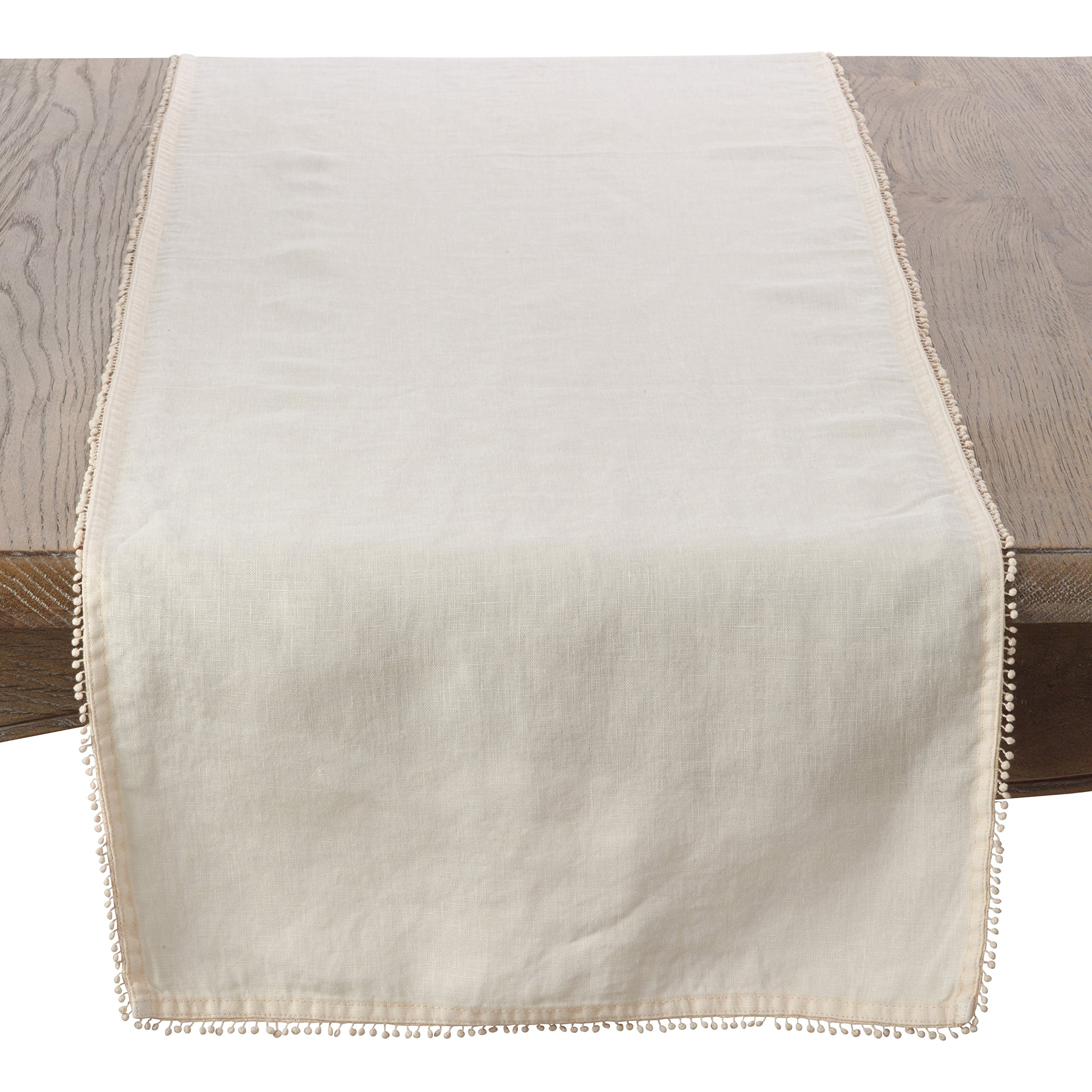 SARO LIFESTYLE Pomponin Collection 100% Linen Table Runner with Pompom Edges, 16'' x 72'', Cream
