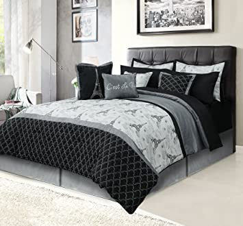 paris queen bedding bed in a bag 12 piece set with sheets eiffel tower black - Bedding In A Bag