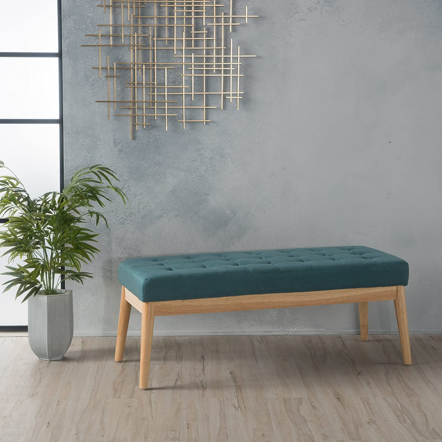 Christopher Knight Home 300219 Living Anglo Deep Teal Fabric Bench, Dark