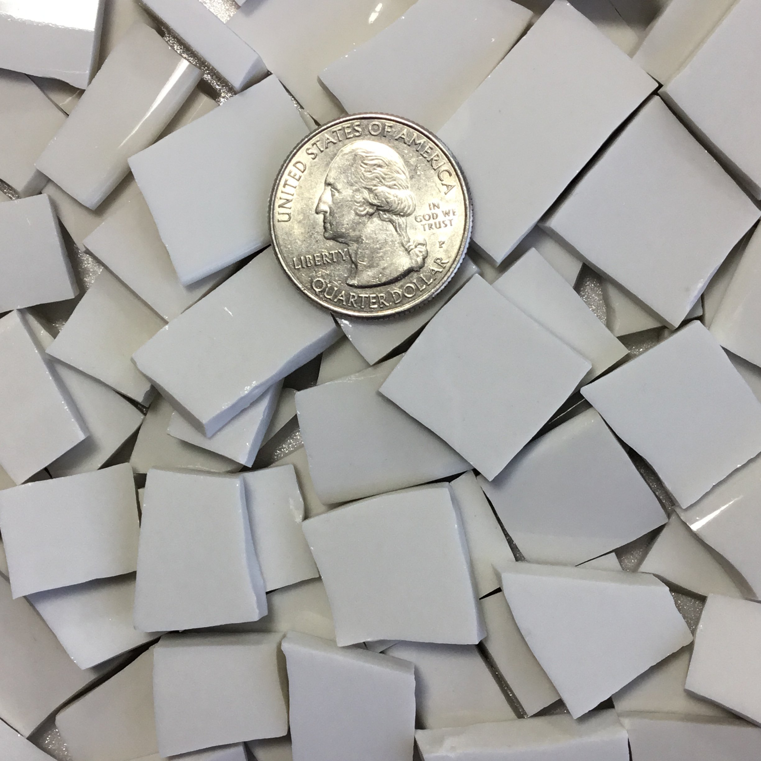 MOSAIC TILE ~ HAND CUT Dish China / Ceramic Pieces ~ Supply for Mosaics Arts & Crafts ~ 100 White ChinaTiles (T#379)