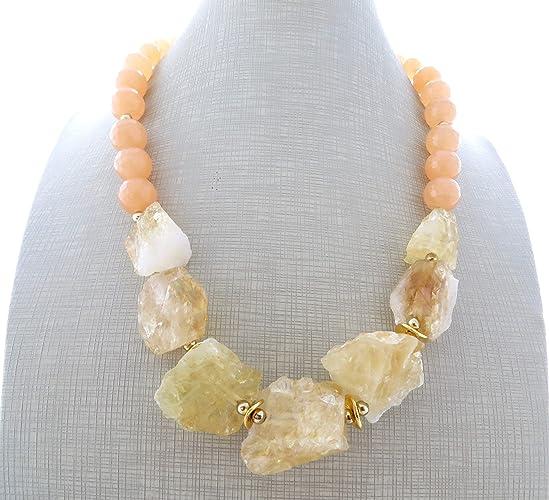 e2d5c8b82743 Collar de citrino amarillo y jade naranja