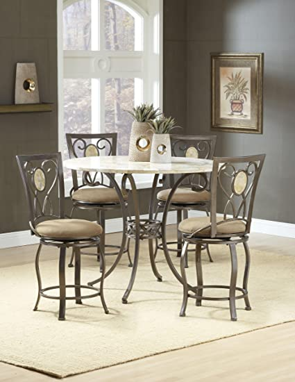 Hillsdale Furniture Brookside Counter Height Dining Table   45u0026quot; 25mm Fossil  Stone Top   Ctn