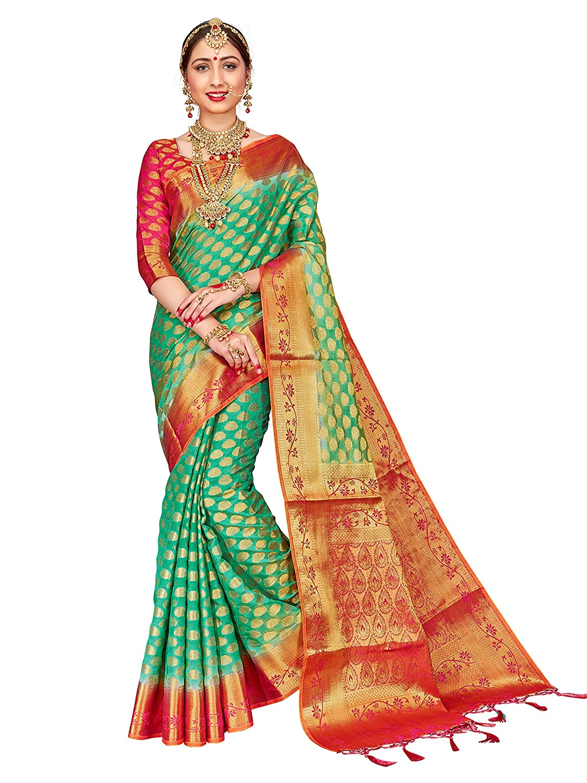 11b80bdcf ELINA FASHION Sarees for Women Banarasi Art Silk Woven Work Saree l ...