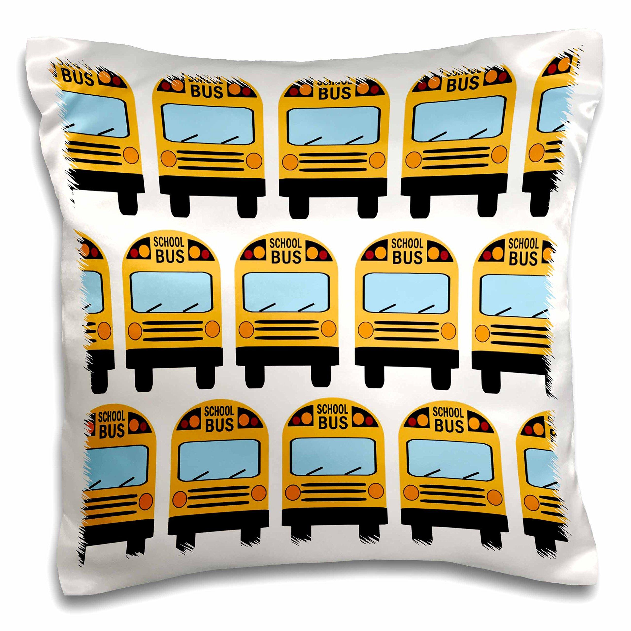 3dRose School Bus-Pillow Case, 16 by 16'' (pc_183198_1)