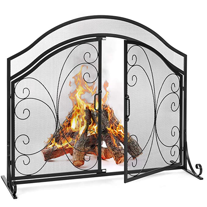 Best Choice Products Single Panel 43x37in Wrought Iron Mesh Fireplace Screen Gate Protector Accessory, Fire Spark Guard for Home with Hinged Magnetic Doors, Decorative Scroll Accents, Black