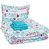AmazonBasics Easy Care Super Soft Microfiber Kid's Bed-in-a-Bag Bedding Set - Twin, Multi-Color Dream Big