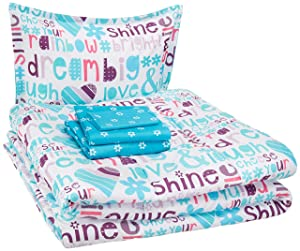 AmazonBasics Kid's Bed-in-a-Bag - Soft, Easy-Wash Microfiber - Twin, Multi-Color Dream Big