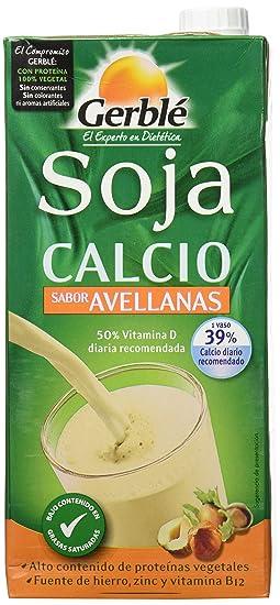 Gerblé - Bebida de soja calcio con sabor avellanas, 1 litro, Pack de 4