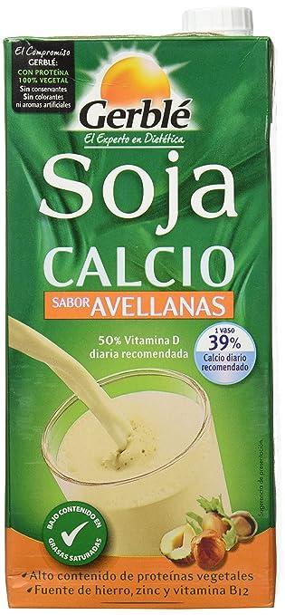 Gerblé - Bebida de soja calcio con sabor avellanas, 1 litro, Pack de 4: Amazon.es: Alimentación y bebidas