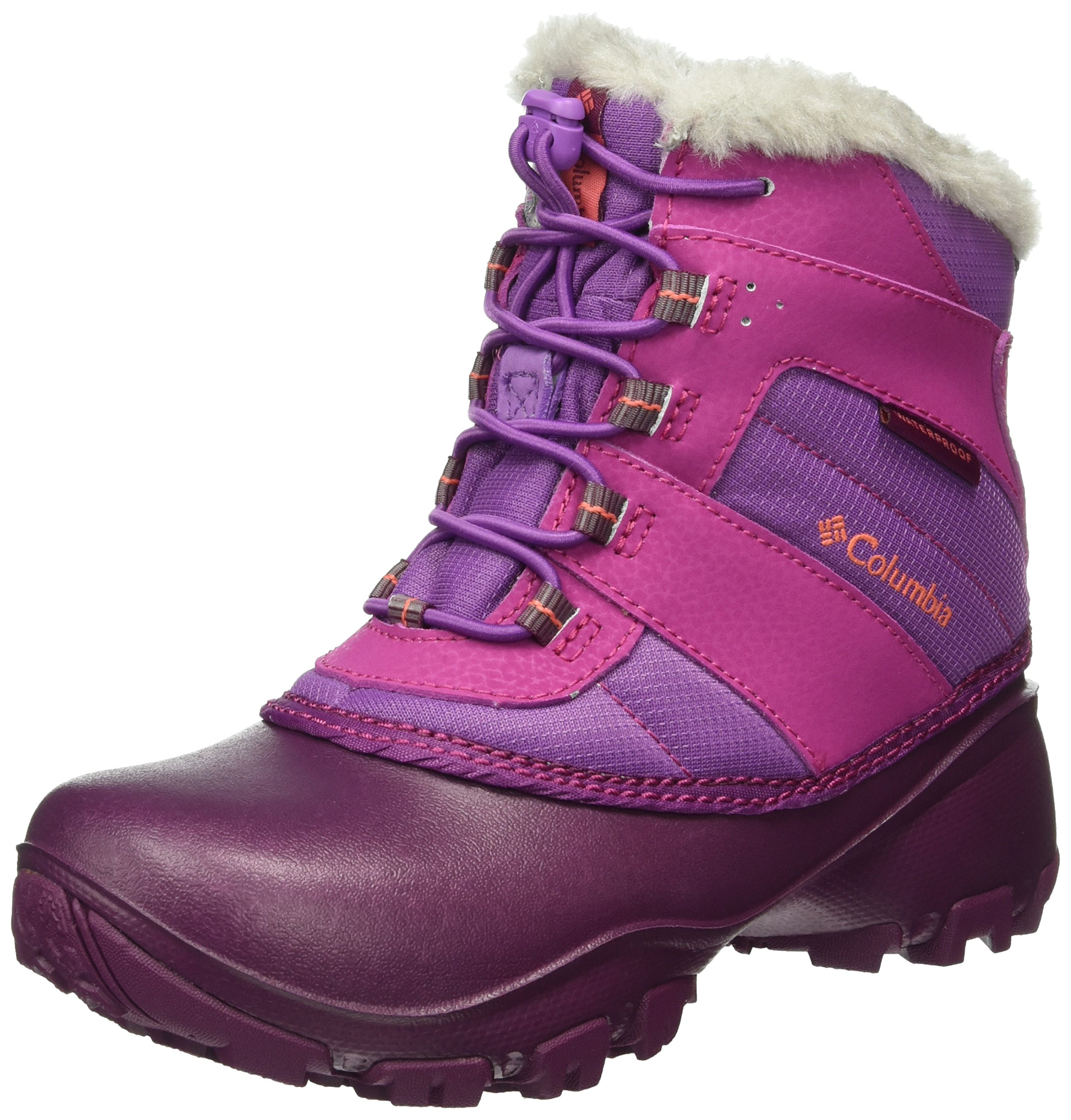 Columbia Girls' Youth Rope Tow III Waterproof Snow Boot, Northern Lights, Melonade, 6 M US Big Kid