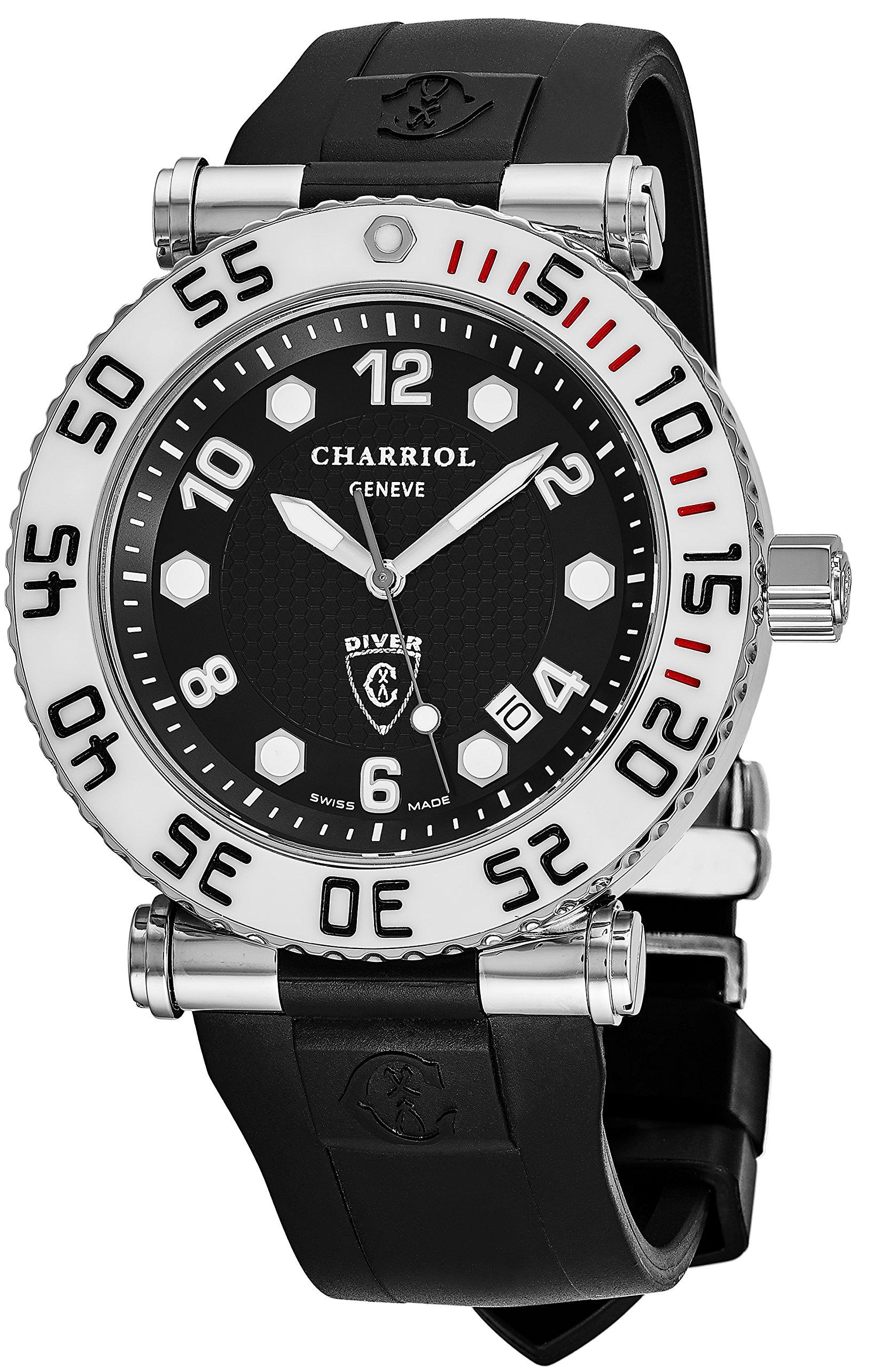 Charriol Rotonde Diver Mens Watch - 42mm Black Face with Luminous Markers Analog Quartz Diving Watch - Black Rubber Strap Swiss Dive Watch For Men 100M Waterproof RT42DIVW.142.D01