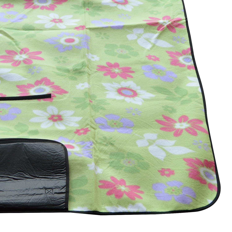 Manta de picnic XXL 200 x 200cm, manta de camping aislante, impermeable y plegable con asa de la marca Ocean5, color: verde - flores: Amazon.es: Deportes y ...