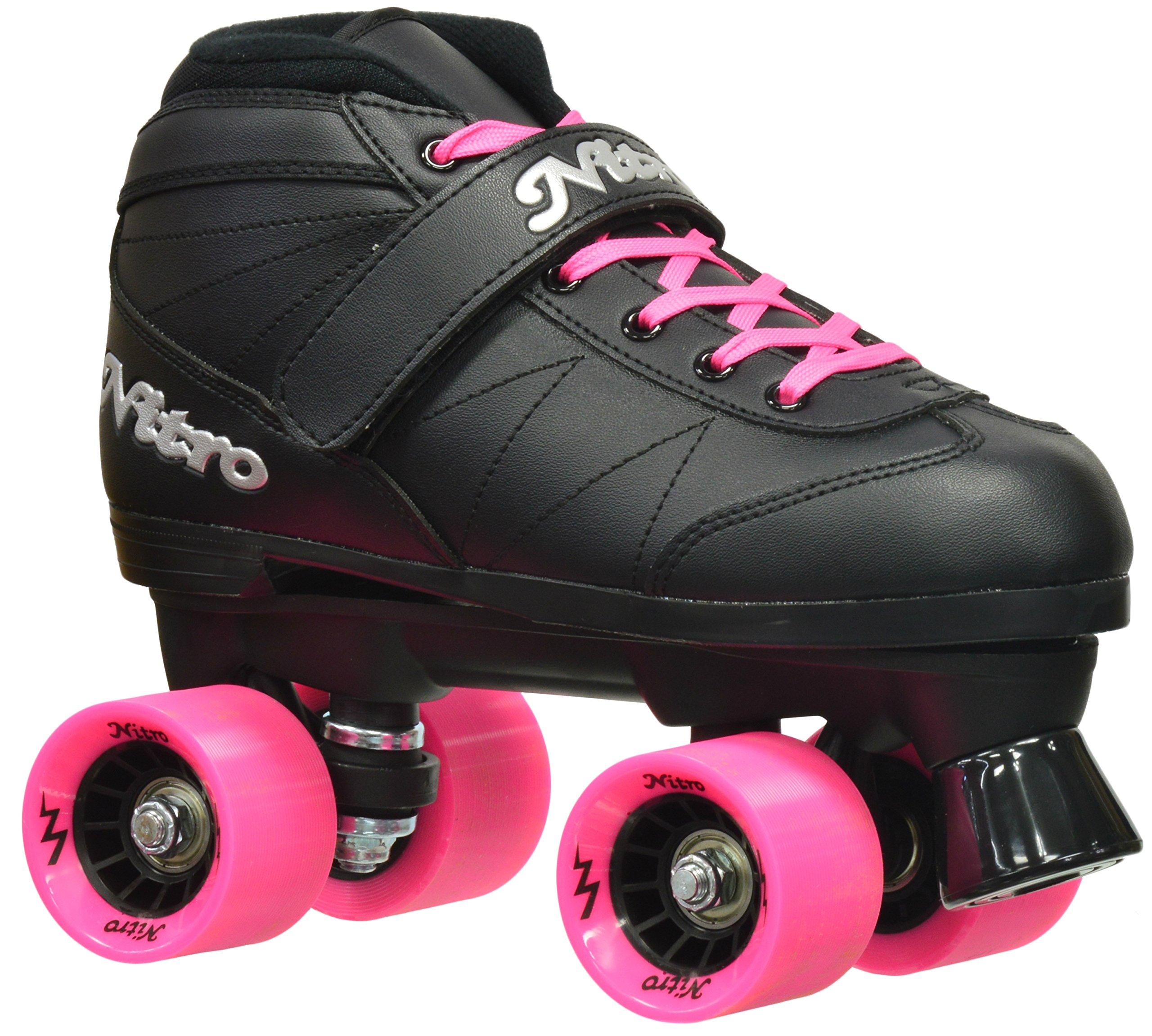 Epic Skates Epic Super Nitro Pink Quad Speed Roller Skates Pink, Black