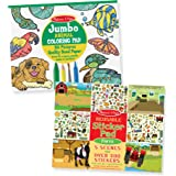"Melissa & Doug Jumbo Coloring & Reusable Sticker Pad 2 Pack – Animal Coloring, Farm Stickers, 14"" X 11"" Each"