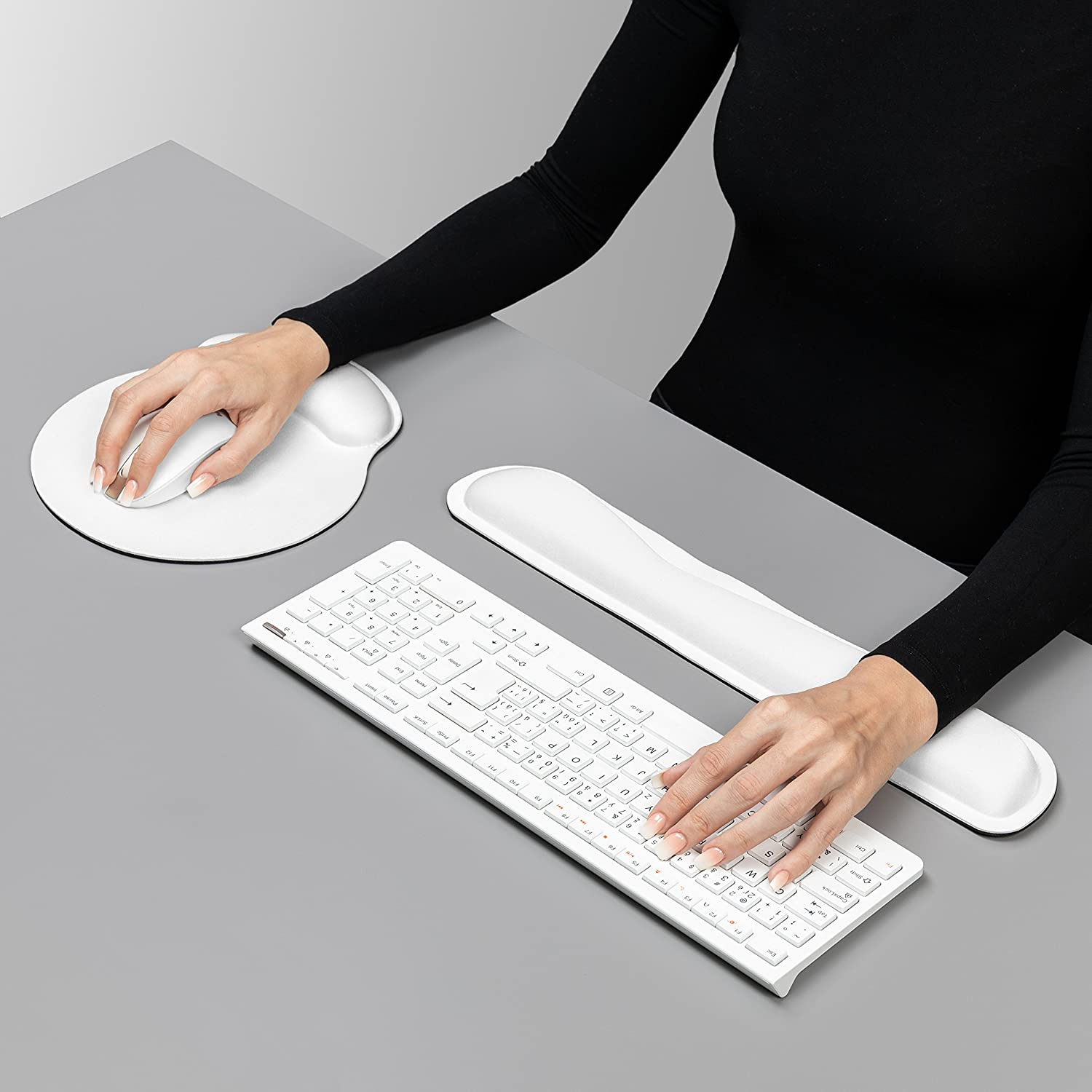 Laptop.Lightweight for Comfortably Typing Pain Relief and Repair. Computer Mouse Wrist Cushion with Wrist Support and Keyboard Rest Pad White Ergonomic PU Leather.Support for Office