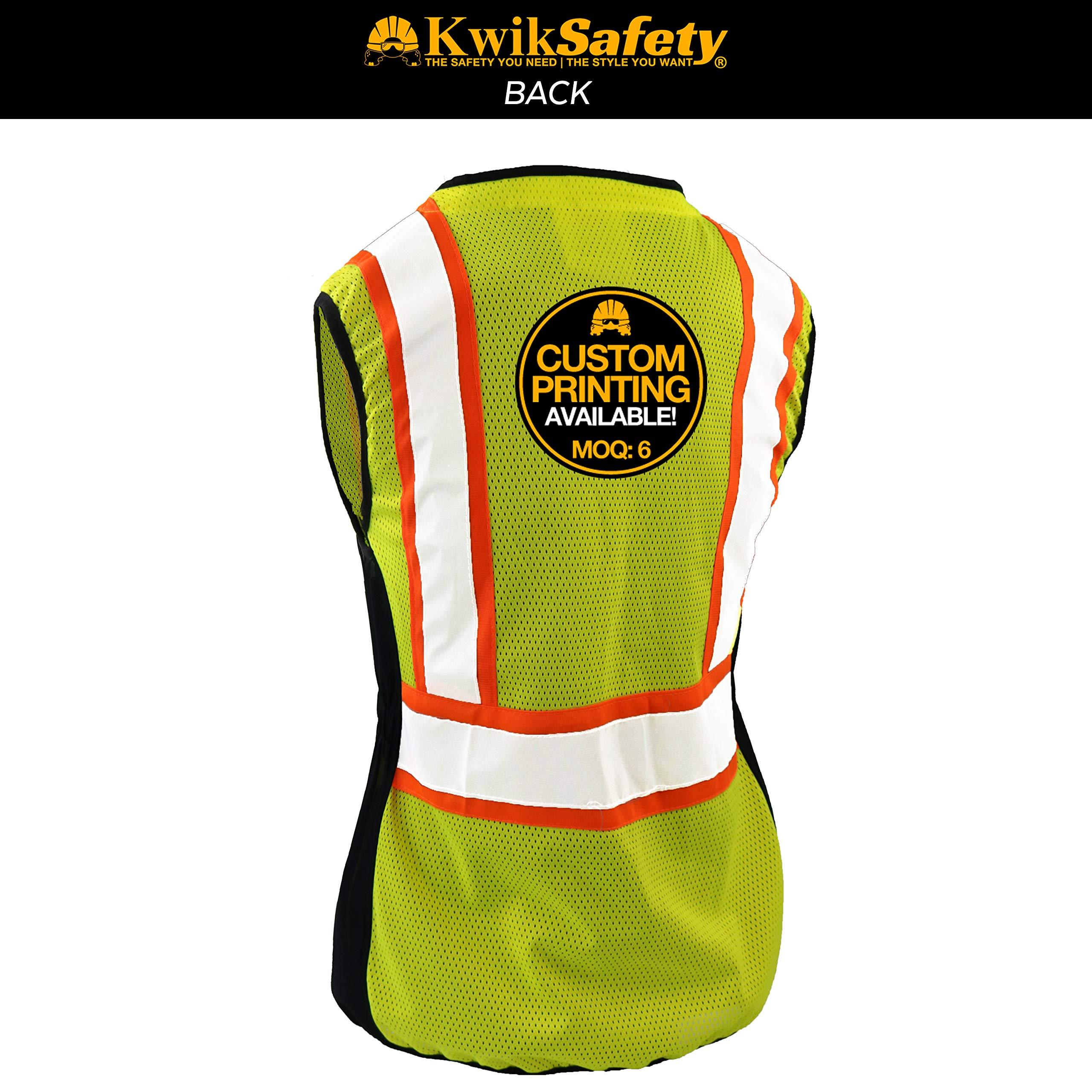 KwikSafety (Charlotte, NC) FIRST LADY Safety Vest for Women | Class 2 ANSI OSHA PPE | High Visibility Heavy Duty Mesh Pockets Zipper | Hi-Vis Construction Work Hi-Vis Surveyor Female | Yellow Large by KwikSafety (Image #1)