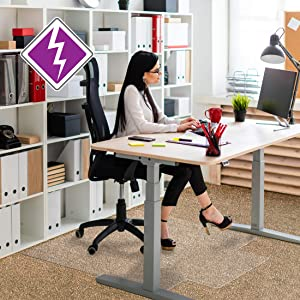 """Floortex Anti-Static Chair Mat with Lip 36"""" x 48"""" for Standard Pile Carpets, Clear (FR319226LV)"""