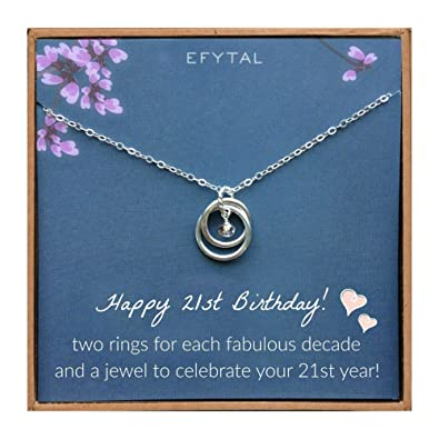 Amazon EFYTAL 21st Birthday Gifts For Her Sterling Silver 21 Year Old Necklace Gift Women Best Friend Or Daughter Jewelry