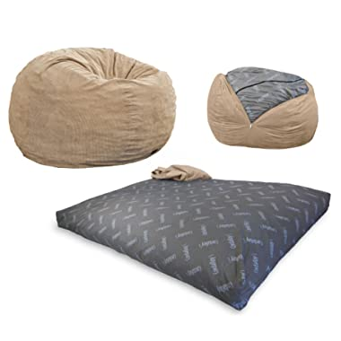 CordaRoy's Bean Bag Chair, Corduroy Convertible Chair Folds from Bean Bag to Bed, As Seen on Shark Tank- Khaki, Full Size