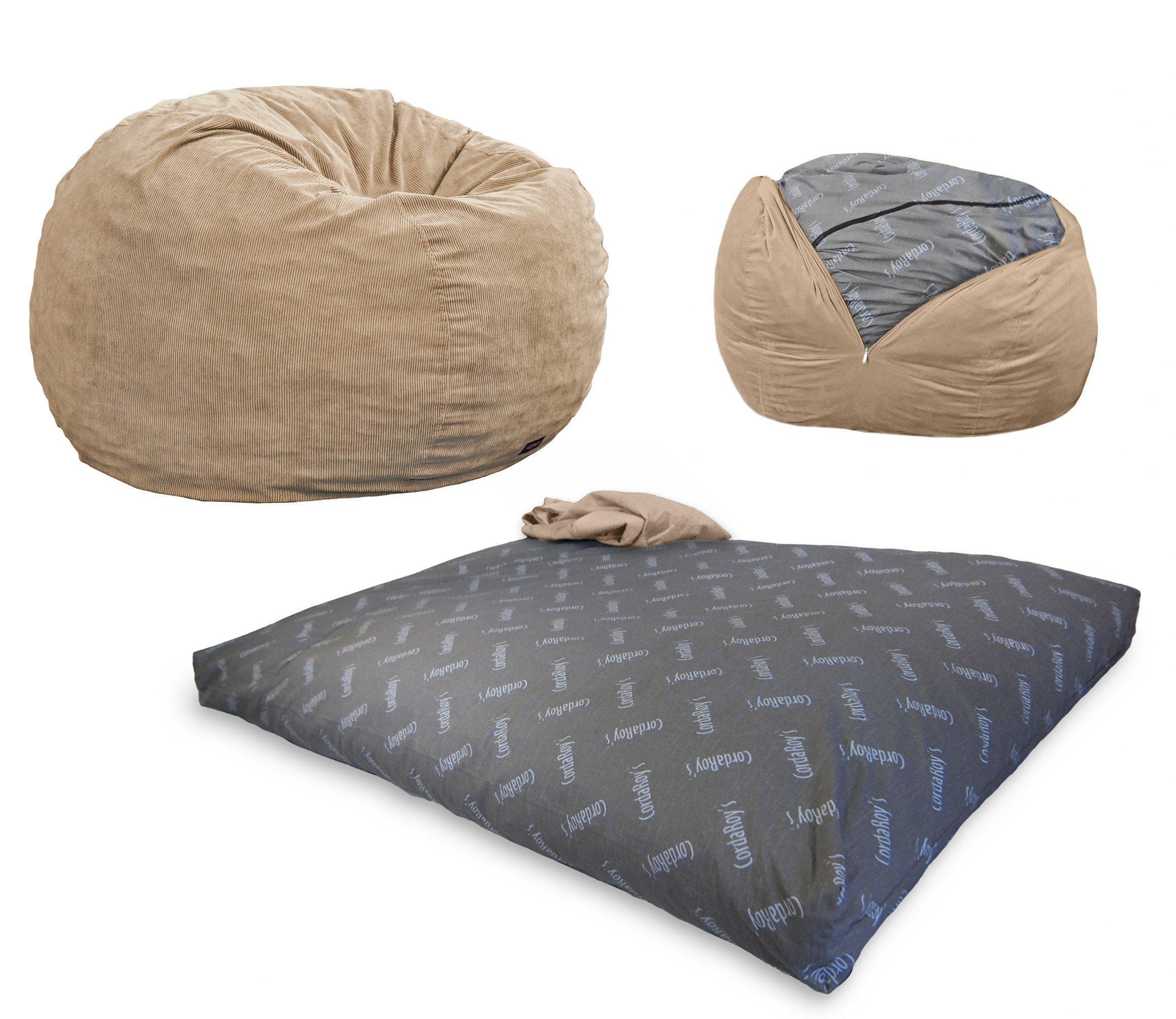 CordaRoy's - Khaki Corduroy Convertible Bean Bag Chair - Full by CordaRoy's