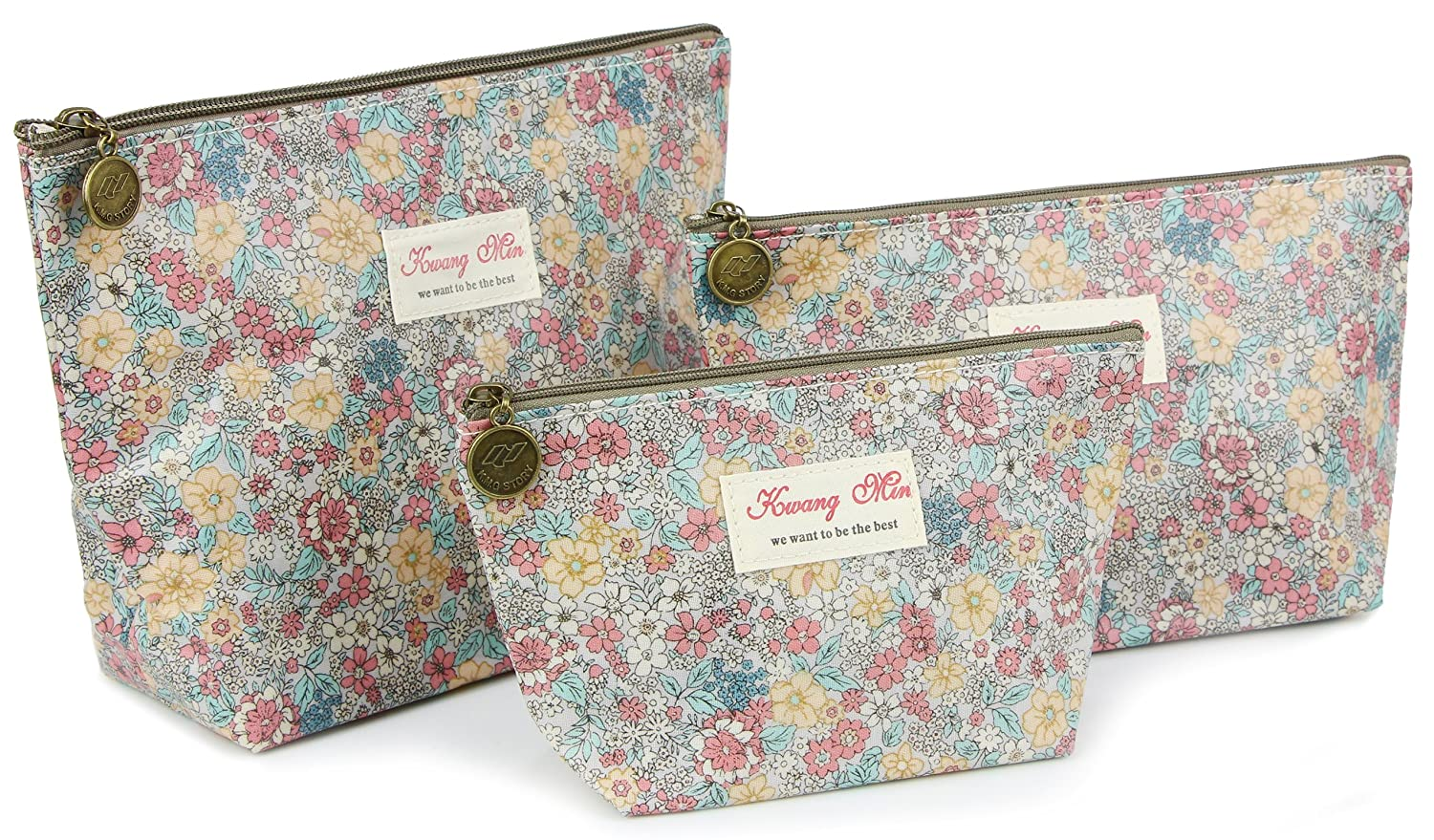 Micom Retro Floral Waterproof Travel Toiletry Cosmetic Bags Set for Women,girls