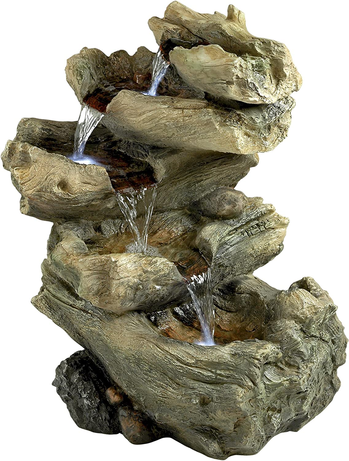 Water Fountain with LED Light - Roaring River Garden Decor Fountain - Outdoor Water Feature