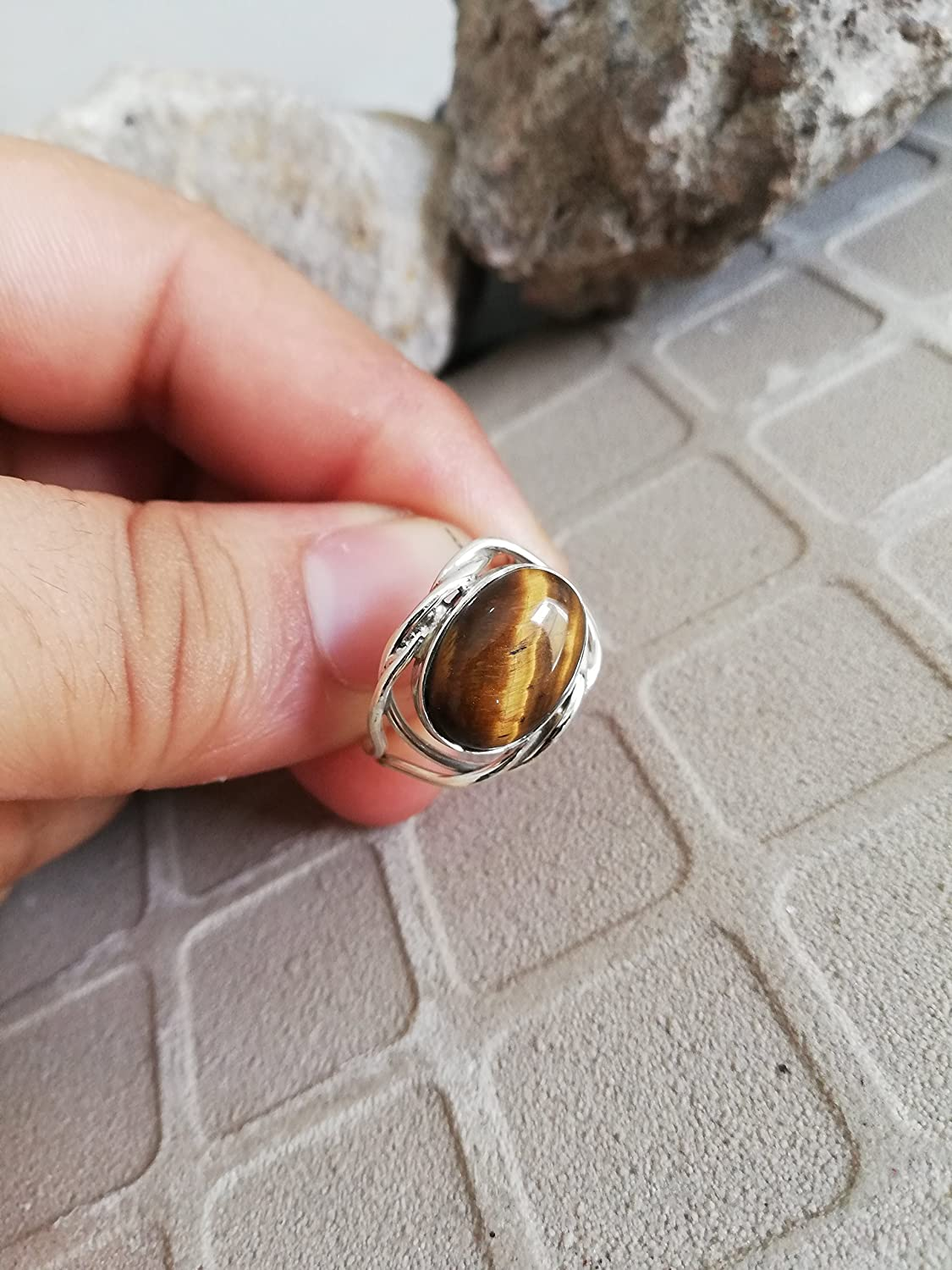 Tiger Eye Ring, 925 Sterling Silver Ring, Protraction Ring, Cabochon Ring, Designer Ring, Cocktail Ring, Anniversary Gift, Vintage Ring, Yoga Jewelry, Good looking Ring, US All Size Ring.