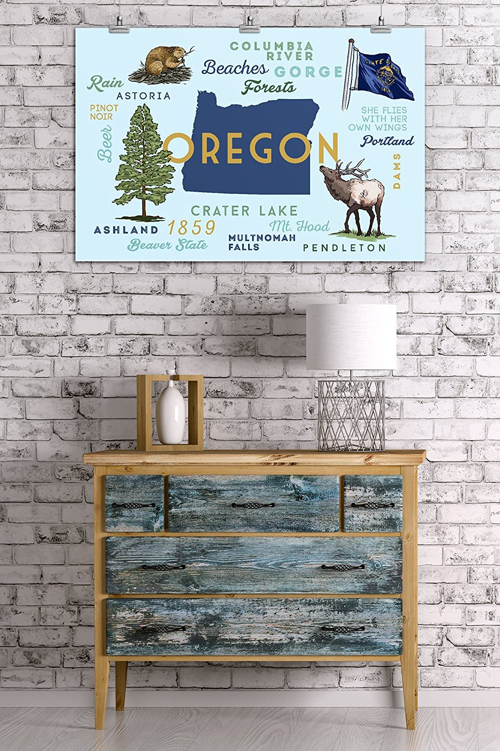 24x36 Giclee Gallery Print, Wall Decor Travel Poster Oregon Typography and Icons