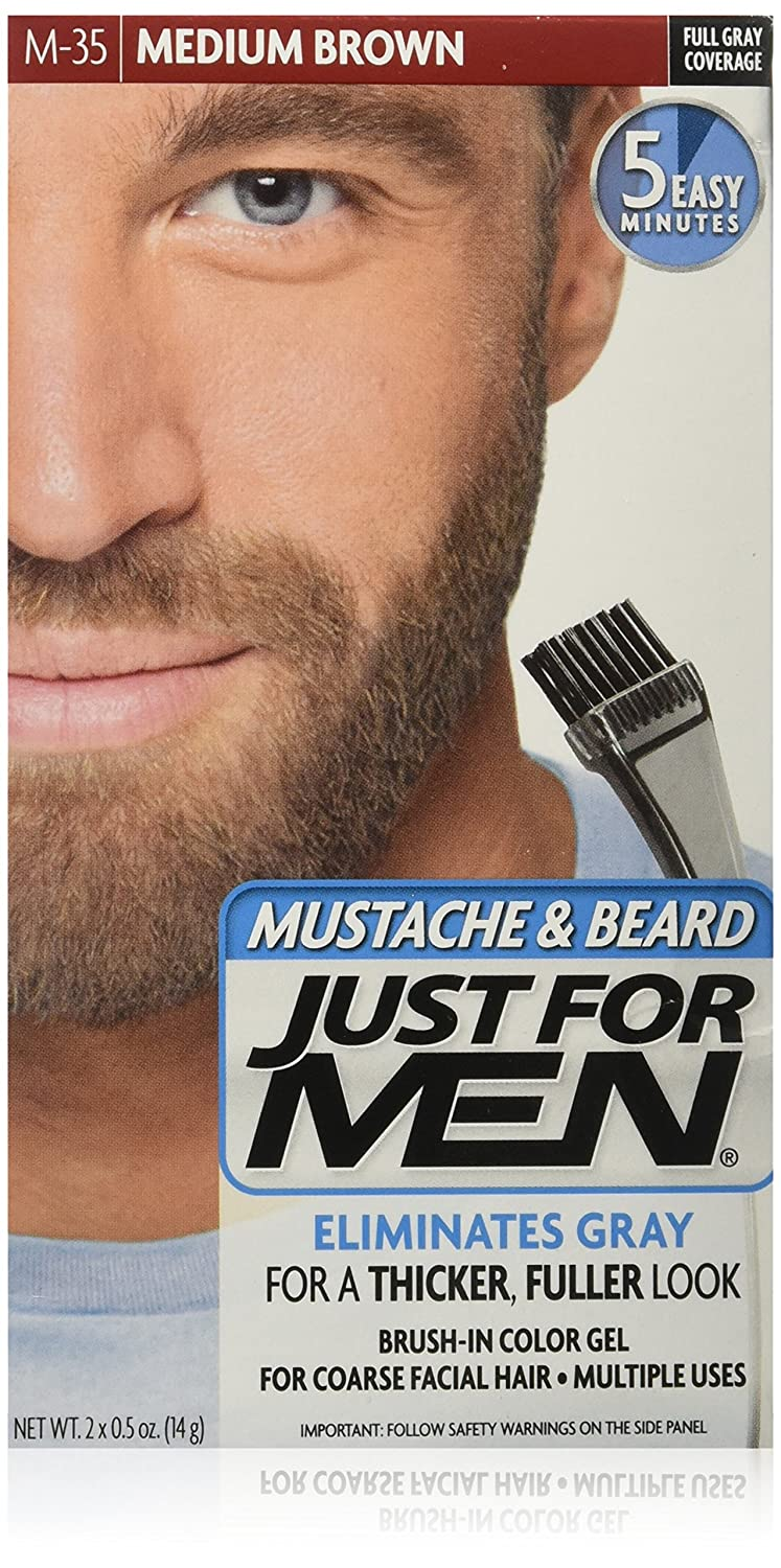 Just For Men Brush-In Color Mustache & Beard Kit, Medium Brown, M-35 Everready First Aid COM04903