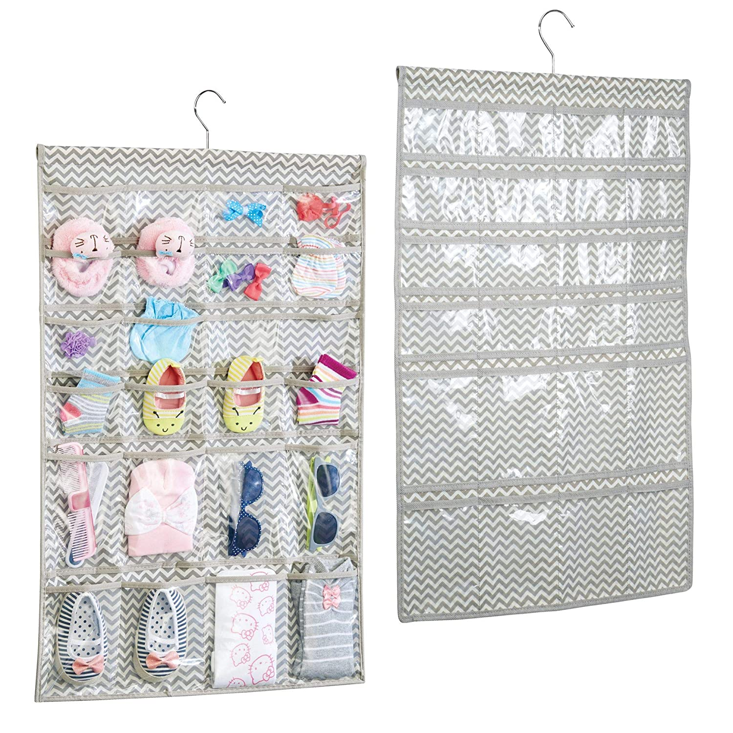 mDesign Hanging Fabric Baby Nursery Closet Organizer Hats, Bows, Shoes, Socks, Accessories - Pack of 2, 48 Pockets, Taupe/Natural MetroDecor 7329MDB