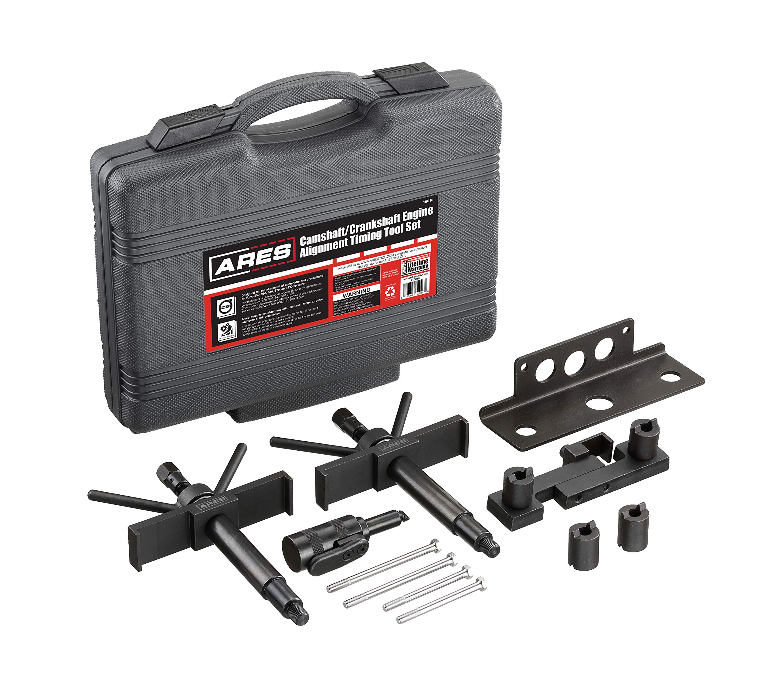 ARES 15010 - Camshaft, Crankshaft, and Timing Alignment Master Tool Set for Volvo - Deep Counter-Weighted Sockets for Increased Torque - Correctly Install Camshafts with Cam Cover
