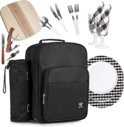 Plush Picnic – 2 Person Picnic Backpack Picnic Basket with Cooler Compartment, Detachable Bottle Wine Holder, Fleece Blanket, Plates and Cutlery Set