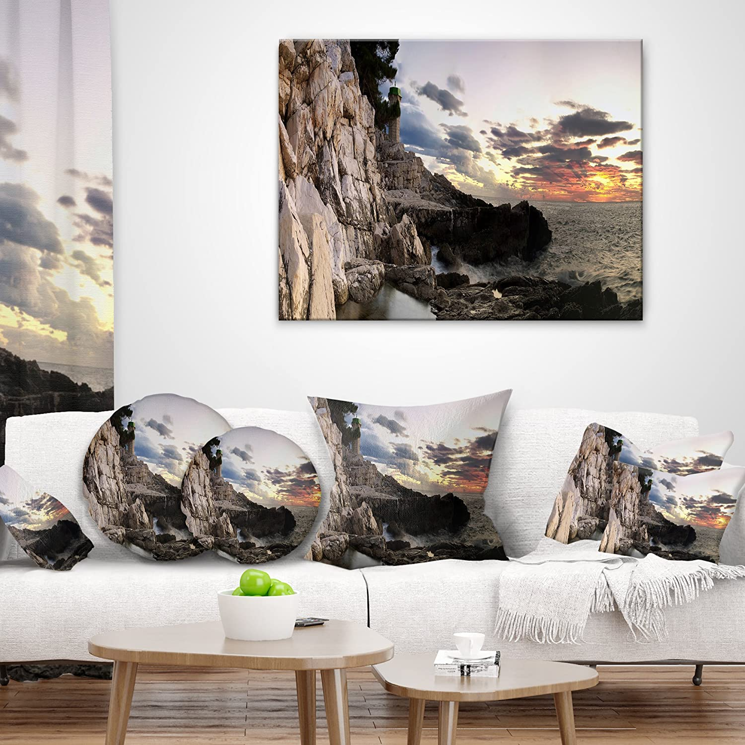 Cushion Cover Printed On Both Side Sofa Designart Cu6434 20 20 C Adriatic Sunset Landscape Photography Throw Cushion Pillow Cover For Living Room 20 Round Pillow Insert Decorative Pillows Inserts Covers Home Kitchen