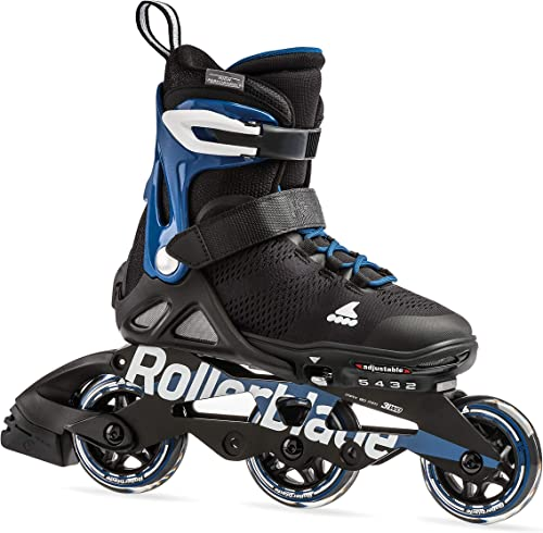 Rollerblade Microblade Alu 3WD Kid s Size Adjustable Inline Skate, Black and Sport Blue, High Performance Inline Skates, Youth