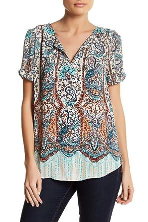 87800f90029c5a DR2 by Daniel Rainn Women's Pinch Sleeve Split Neck Blouse size S at ...