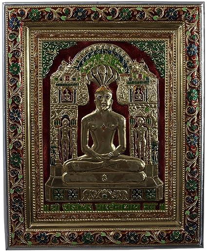 Embossed on brass minakari metal handicraft hand crafted goddess meldi maa standing medium spiritual religious