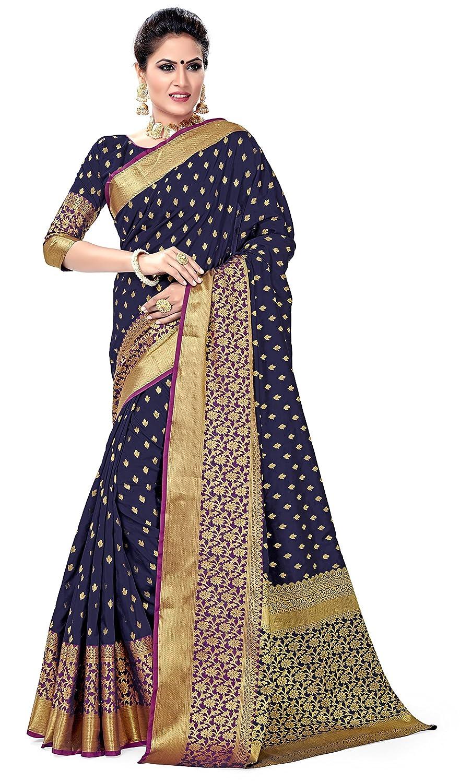 Navy Blue Women's Banarasi Art Silk Saree With Blouse Piece Collection